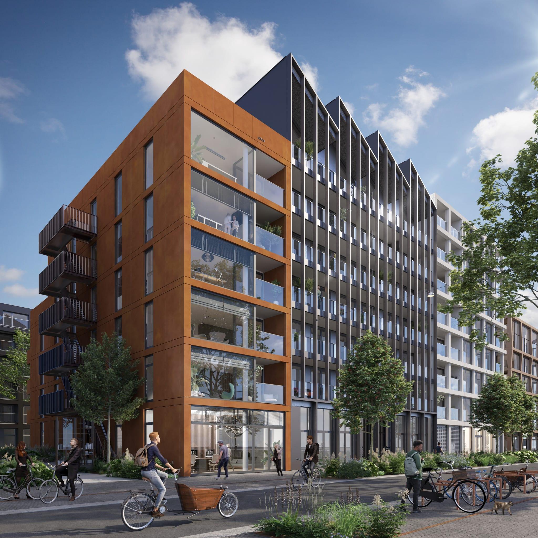 Blok 2 aan het begin van de Oostenburgermiddenstraat