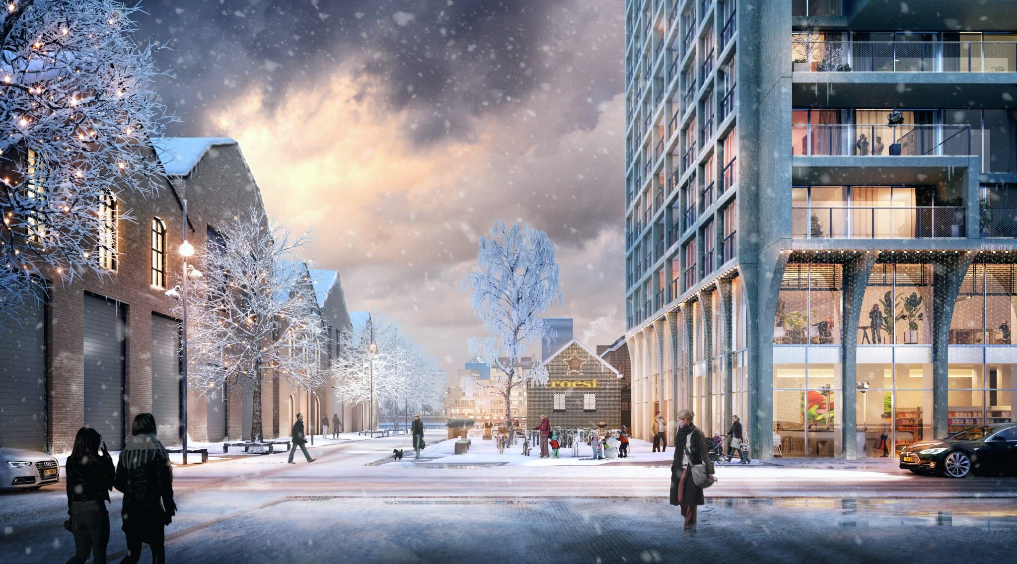 Een winterimpressie van de Bontiusplaats
